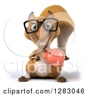 Clipart Of A 3d Bespectacled Squirrel Holding A Piggy Bank Royalty Free Illustration