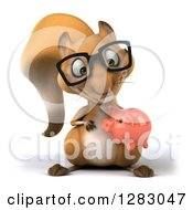 Clipart Of A 3d Bespectacled Squirrel Holding And Looking Down At A Piggy Bank Royalty Free Illustration