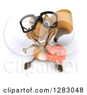 Clipart Of A 3d Bespectacled Squirrel Looking Up Holding A Thumb Down And A Piggy Bank Royalty Free Illustration