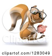 Clipart Of A 3d Bespectacled Squirrel Facing Right Hopping And Holding A Piggy Bank Royalty Free Illustration