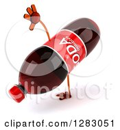 Clipart Of A 3d Soda Bottle Character Cartwheeling Royalty Free Illustration