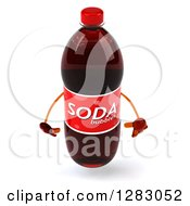 Clipart Of A 3d Soda Bottle Character Pouting Royalty Free Illustration
