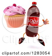 Clipart Of A 3d Soda Bottle Character Jumping And Holding A Cupcake Royalty Free Illustration