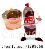 Clipart Of A 3d Soda Bottle Character Holding Up A Finger And A Cupcake Royalty Free Illustration