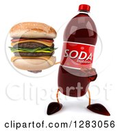 Clipart Of A 3d Soda Bottle Character Holding And Pointing To A Double Cheeseburger Royalty Free Illustration