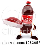 Clipart Of A 3d Soda Bottle Character Holding A Beef Steak Royalty Free Illustration