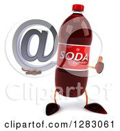 Clipart Of A 3d Soda Bottle Character Holding A Thumb Up And An Email Arobase At Symbol Royalty Free Illustration