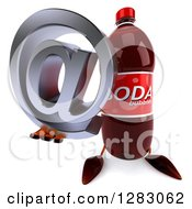 Clipart Of A 3d Soda Bottle Character Holding Up An Email Arobase At Symbol Royalty Free Illustration