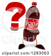 Clipart Of A 3d Soda Bottle Character Holding And Pointing To A Question Mark Royalty Free Illustration