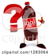 Clipart Of A 3d Soda Bottle Character Holding Up A Finger And A Question Mark Royalty Free Illustration
