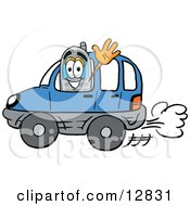 Wireless Cellular Telephone Mascot Cartoon Character Driving A Blue Car And Waving