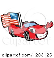 Happy Red Convertible Car Mascot Character Waving And Holding An American Flag