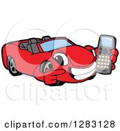 Happy Red Convertible Car Mascot Character Holding And Pointing To A Cell Phone