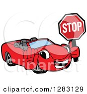 Happy Red Convertible Car Mascot Character Gesturing And Holding A Stop Sign