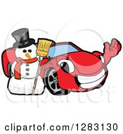 Happy Red Convertible Car Mascot Character Waving By A Christmas Snowman