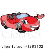 Clipart Of A Happy Red Convertible Car Mascot Character Welcoming Royalty Free Vector Illustration by Toons4Biz