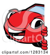 Clipart Of A Happy Red Convertible Car Mascot Character Smiling Around A Sign Royalty Free Vector Illustration