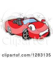 Clipart Of A Sad Red Convertible Car Mascot Character After An Accident Royalty Free Vector Illustration by Toons4Biz
