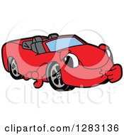 Red Convertible Car Mascot Character Thinking