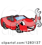 Clipart Of A Happy Red Convertible Car Mascot Character Holding A Thumb Up And A Wrench Royalty Free Vector Illustration by Toons4Biz