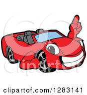Clipart Of A Happy Red Convertible Car Mascot Character Holding Up A Finger Royalty Free Vector Illustration