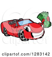 Happy Red Convertible Car Mascot Character Holding Cash Money