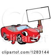 Clipart Of A Happy Red Convertible Car Mascot Character Holding Up A Blank Sign Royalty Free Vector Illustration