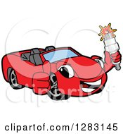 Happy Red Convertible Car Mascot Character Holding A Thumb Up And Spark Plug