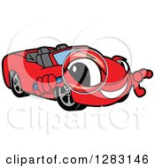 Clipart Of A Happy Red Convertible Car Mascot Character Looking Through A Magnifying Glass Royalty Free Vector Illustration