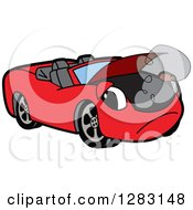 Clipart Of A Sad Red Convertible Car Mascot Character Smoking Royalty Free Vector Illustration by Toons4Biz