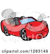 Clipart Of A Dead Red Convertible Car Mascot Character Royalty Free Vector Illustration