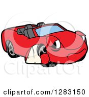 Clipart Of A Sad Red Convertible Car Mascot Character With An Arm In A Sling Royalty Free Vector Illustration