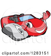 Clipart Of A Happy Red Convertible Car Mascot Character Waving By A Computer Mouse Royalty Free Vector Illustration by Toons4Biz