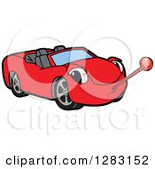 Clipart Of A Sick Red Convertible Car Mascot Character With A Thermometer Royalty Free Vector Illustration