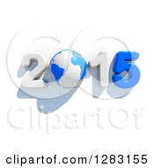 3d Blue And White Year 2015 With An Earth Globe As The Zero Over White