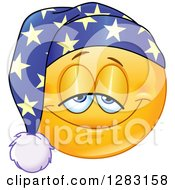 Clipart Of A Sleepy Yellow Smiley Face Emoticon Wearing A Night Cap Royalty Free Vector Illustration