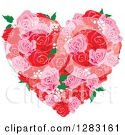 Pink And Red Floral Rose And Babys Breath Heart