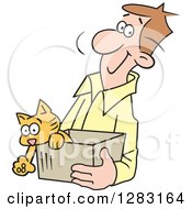 Clipart Of A Happy Brunette Caucasian Man Carrying A Kitten In A Box Royalty Free Vector Illustration