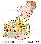 Clipart Of A Happy Brunette Caucasian Man Carrying Kittens In A Box Royalty Free Vector Illustration