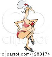 Clipart Of A Senior Caucasian Woman Dancing In A Bikini Royalty Free Vector Illustration by djart