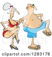 Clipart Of A Senior Caucasian Couple Dancing In Swimwear Royalty Free Vector Illustration