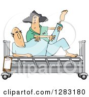 Clipart Of A White Female Nurse Helping A Caucasian Male Patient Stretch For Physical Therapy Recovery In A Hospital Bed Royalty Free Vector Illustration
