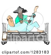 Clipart Of A Black Female Nurse Helping A White Male Patient Stretch For Physical Therapy Recovery In A Hospital Bed Royalty Free Illustration