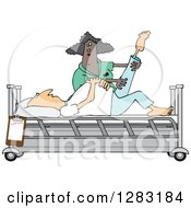 Clipart Of A Black Female Nurse Helping A Caucasian Male Patient Stretch For Physical Therapy Recovery In A Hospital Bed Royalty Free Vector Illustration