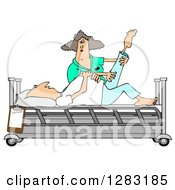 Clipart Of A White Female Nurse Helping A White Male Patient Stretch For Physical Therapy Recovery In A Hospital Bed Royalty Free Illustration