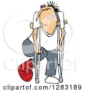 Clipart Of A Caucasian Banged Up Man With Bandages Crutches A Black Eye And Cast Royalty Free Vector Illustration