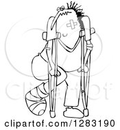 Black And White Banged Up Man With Bandages Crutches A Black Eye And Cast