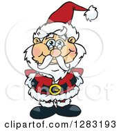 Clipart Of A Happy Christmas Santa Claus Royalty Free Vector Illustration