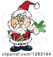 Clipart Of A Friendly Waving Christmas Santa Claus Royalty Free Vector Illustration