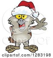 Clipart Of A Friendly Waving Owl Wearing A Christmas Santa Hat Royalty Free Vector Illustration